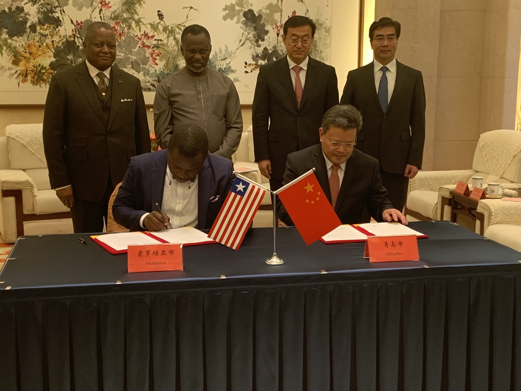 MONROVIA MAYOR JEFFERSON KOIJEE SIGNS MOU WITH QINGDAO IN CHINA